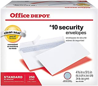 Office Depot Clean Seal(TM) Security Envelopes, 10 (4 1/8in. x 9 1/2in.), White, Box of 250, 77148