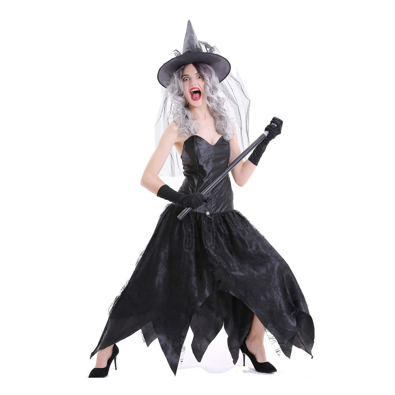YaXuan Disfraz de Bruja para Mujer Demonio de Halloween/Carnaval / Festival/Fiesta Disfraces de Halloween Negro Sólido/Halloween (Color : Negro, tamaño : L): Amazon.es: Jardín