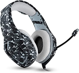 Stereo Anti-Noise Gaming Headset Comfortable Gaming Headset with Rotatable,Over Ear Headphones with Noise Reduction Mic, for PS4, PC, Xbox One, Laptop, Mac,Smart Phone(Camouflage) (Color : Gray)