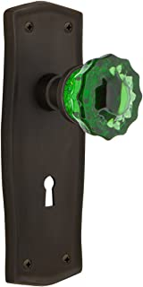 Nostalgic Warehouse 725859 Prairie Plate with Keyhole Privacy Crystal Emerald Glass Door Knob, Oil-Rubbed Bronze, Privacy...