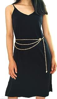 40 Inch Women Long Tassel Waist Chain Belt Golden Multilayer Body Belly Chain for Dress