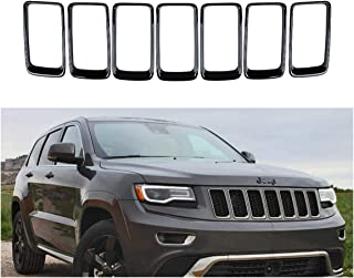 NO7RUBAN Grille Grill Cover Inserts Frame Trims Kit for 2014-2016 Jeep Grand Cherokee Black Grill Ring 7pcs