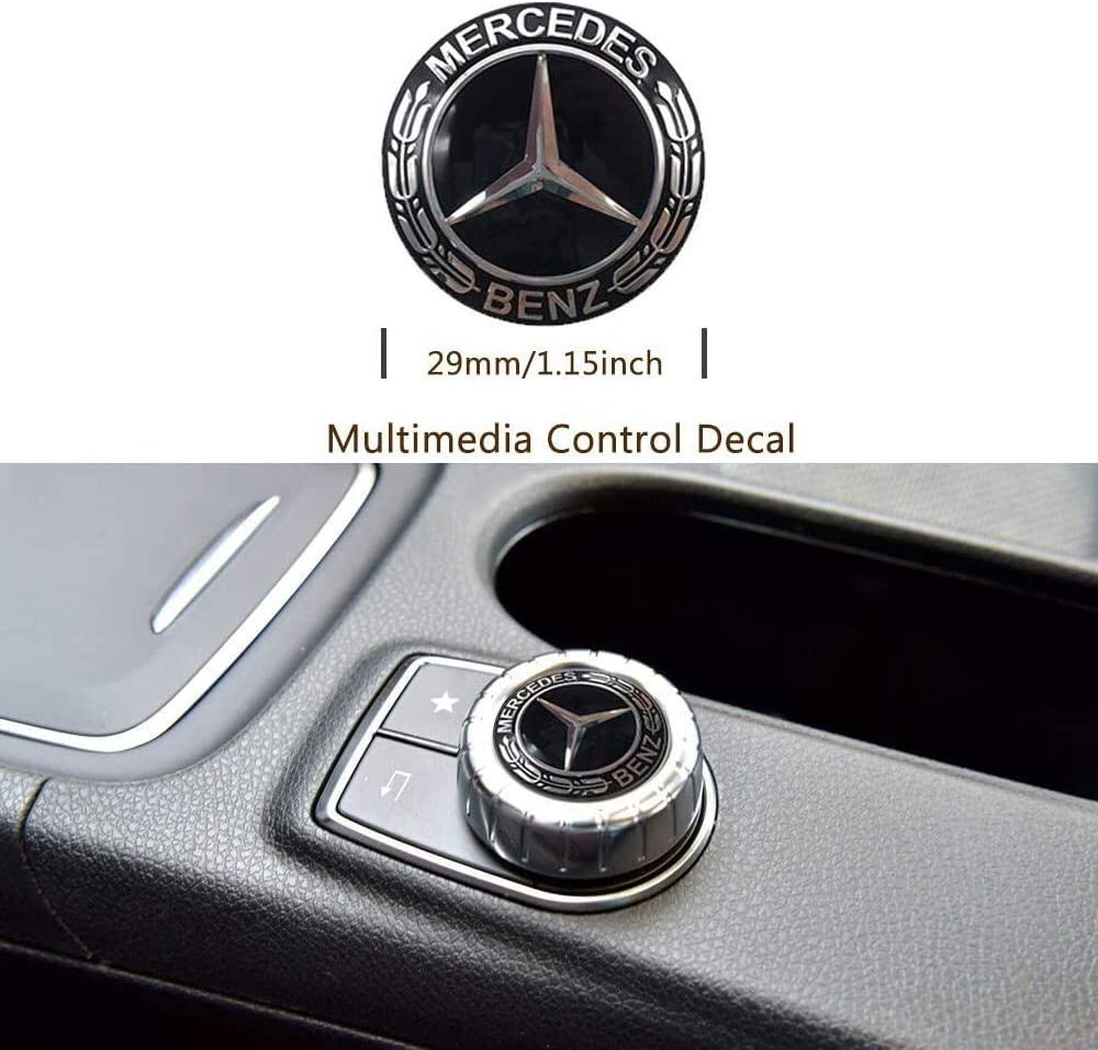 Autaces 57MM Chrome Benz Logo Flat Hood Star Emblem Badge Compatible with Mercedes Benz C E SL Class Decoration Hood Emblem-Black