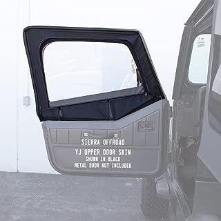 Sierra Offroad Door Skins Fits 1988-1995 Jeep Wrangler YJ 2DR, Clear Windows, Denim Vinyl, Black