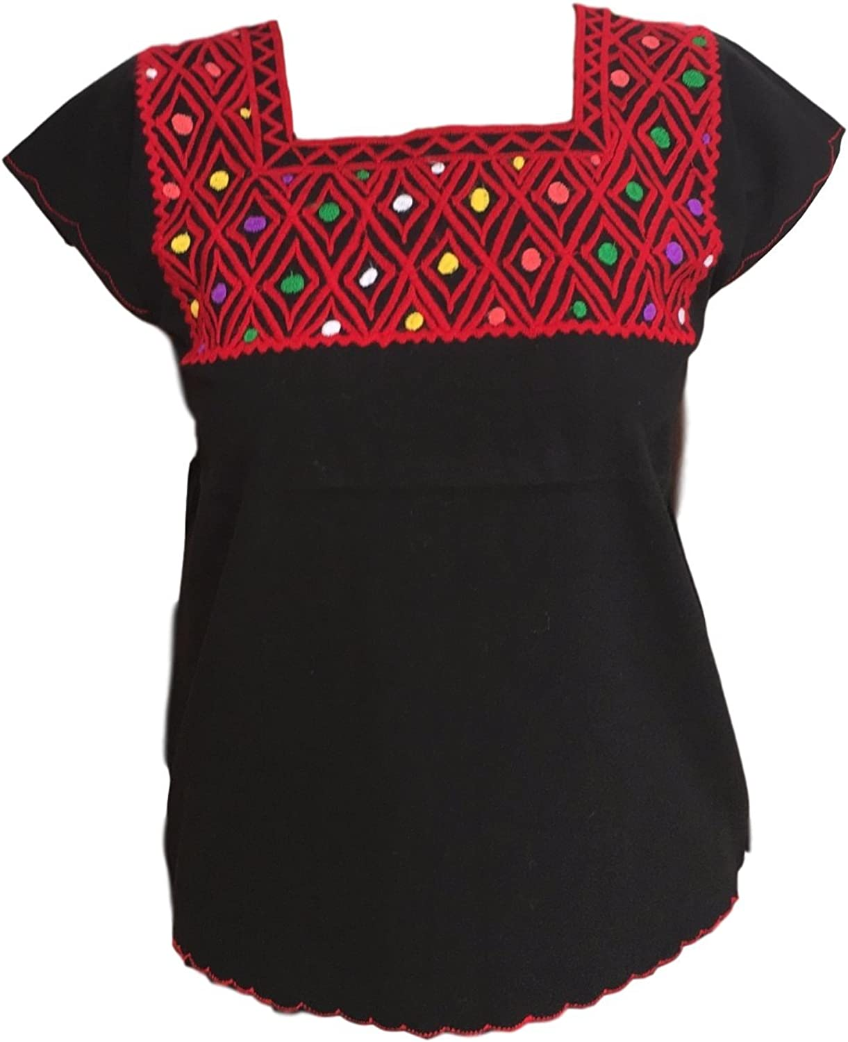 Casa Fiesta Designs Mexican Blouse  Embroidered  Authentic  Handmade  Cotton  Black