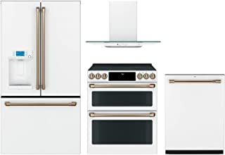"""GE Cafe 4 Piece Kitchen Package CFE28TP4MW2 36""""French Door Refrigerator, CES750P4MW2 30""""Smart Slide-in Electric Range,CVW7..."""
