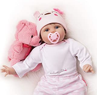 TiaNara Lifelike Baby Doll with Accessories and Toy Bear, 22-inch Weighted Reborn Girl for Age 3+, 8-Piece Silicone Realis...