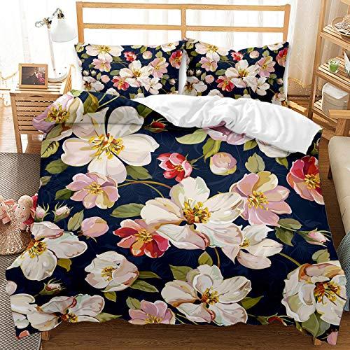 QXbecky Estilo Pastoral Planta Flor Vacaciones árbol de Coco Ropa de Cama edredón Funda de Almohada 2, Juego de 3 Piezas para Mantenerse Caliente, Transpirable y cómodo para Dormir