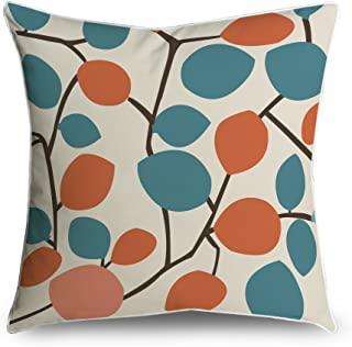 FabricMCC Mid-Century Modern Orange and Teal Leaf Pattern Square Accent Decorative Throw Pillow Case Cushion Cover 18x18