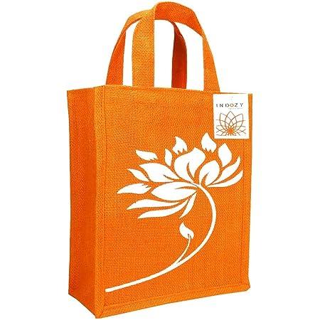 INDOZY Jute Bag for Lunch Tiffin & Gifting   for Men Women Girl boy Kid Office Daily use Handbag   with Zip & 2 Inside Pockets for Spoon/Fork/Tissue/Mobile & Water Bottle (Orange Lotus)