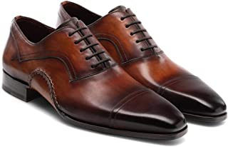 Costoso Italiano Brown Leather Formal Lace Up Oxford Shoes for Men