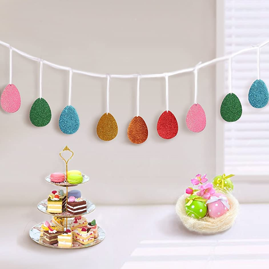 jollylife Easter Glitter Eggs Garland Banners Burlap Ribbon- Party Decorations Ornaments Supplies