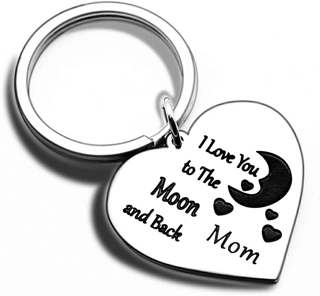Mothers Day Gifts Keychain for Mom from Daughter Son In Law- I Love You to the Moon and Back Appreciation Keyring Mum Xmas Personalised Fathers Birthday Christmas for Mom Keyring