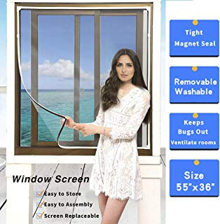 """Adjustable DIY Magnetic Window Screen Max 55""""H x 36""""W Fits Any Size Smaller DIY Easy Installation (White)"""