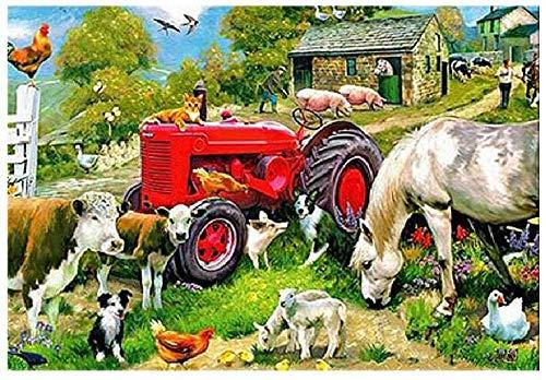Niños Adultos DIY Experiencia Rompecabezas De Madera 1000 Piezas Tractor Rojo De Granja Y Animales De Caballo De Vaca Desafío Paciencia Rompecabezas Ejercicio Amistad Regalo Casual