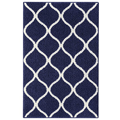 Maples Rugs Rebecca Contemporary Kitchen Rugs Non Skid Accent Area Carpet [Made in USA], 2'6 x 3'10, Navy Blue/White