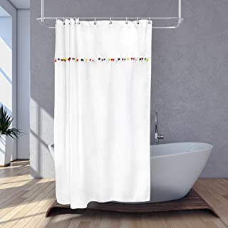 JAWO White Pom Pom Trim Shower Curtain, Modern Simple Waterproof Bath Curtains Set, Creative Polyester Fabric Upgrade Bathroom Accessories Decor 10 Hooks Included, 60X70 Inches