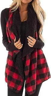 Womens Casual Sleeveless Lapel Open Front Jacket Plaid Vest Cardigan Coat