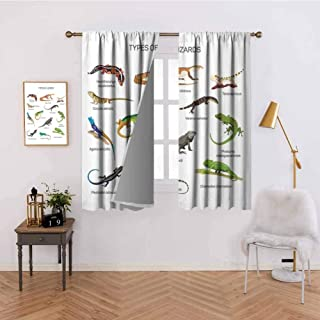 Mdxizc Kitchen Curtain Lizard Family Design Primitive Reptiles Camouflage Exotic Creatures Home Design Home Bedroom Wall Decorations W63 x L45 Inch