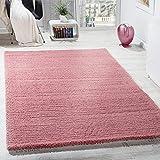 Paco Home Alfombra Salón Dormitorio/Pelo Largo Shaggy Distintos Diseños, Colores Y Tamaños, tamaño:60x110 cm, Color:Rosa 2