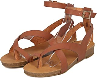 Womens Flat Gladiator Sandals Ankle Wrap Strappy Buckle Toe Loop Cork Flip Flops Shoes WP3