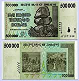 Zimbabwe 500 Thousand Dollars 2008 UNC, World inflation, currency banknotes by RBZ