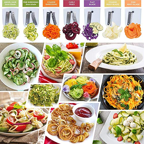 Product Image 4: Spiralizer 7-Blade Vegetable Slicer, Strongest-and-Heaviest Spiral Slicer, Best Veggie Pasta Spaghetti Maker for Keto/Paleo/Non-Gluten, Comes with 4 Recipe Ebooks