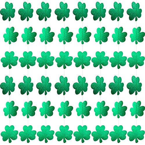 XIANMU 12 Pack Shamrock Garland St. Patrick's Day Decorations Glitter Green Clover Garlands Lucky Irish Party Hanging Ornaments Banner for St Patrick Party Home Decor Favors Supplies