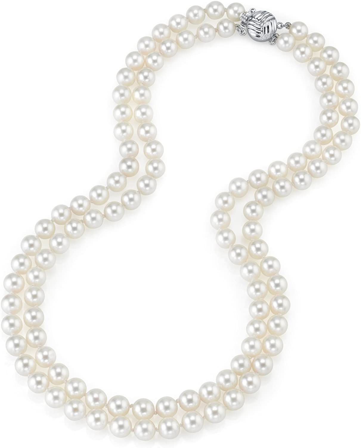 THE 2021new shipping free shipping PEARL SOURCE 14K Gold 7.5-8.0mm J White Genuine Double Round famous