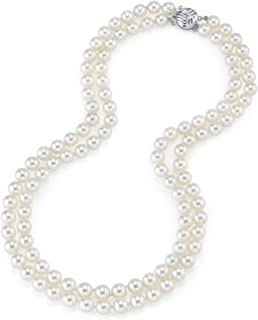 "THE PEARL SOURCE 14K Gold 7.0-7.5mm Round Genuine White Double Japanese Akoya Saltwater Cultured Pearl Necklace in 16-17"" Length for Women"