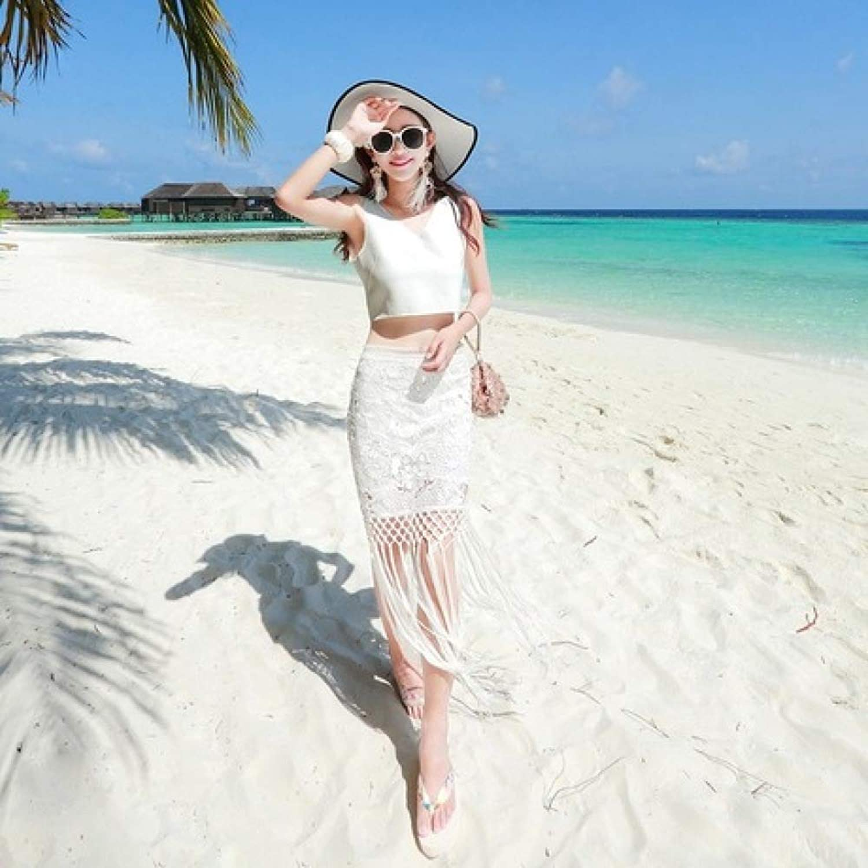 ZENWEN OffTheShoulder Fringed lace OffShoulder VNeck Seaside Holiday Bohemian Long Skirt Beach Skirt Women's Suit