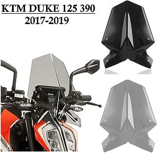 Motorcycle Windscreen Windshield Fly Screen Wind Deflector w/Mounting Bracket for 2017 2018 2019 KTM Duke 125 390 Duke125 Duke390 Accessories 17-19 (Light Smoke)