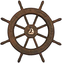 Hampton Nautical  Flying Dutchman Ghost Pirate Ship Wheel with Sailboat 18