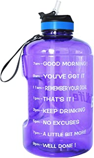 QuiFit Gallon Water Bottle with Straw and Motivational Time Marker Easy Sipping 128/73/43 Ounce Large Capacity BPA Free Reusable Sport Fitness Water Jug with Handle to Drink More Water