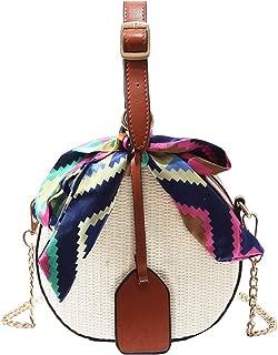 Sun Kea Womens Mandmade Straw Shoulder Bags Ribbon Tote Handbags Summer Holiday Beach Weave Cross-body Purse(Brown)