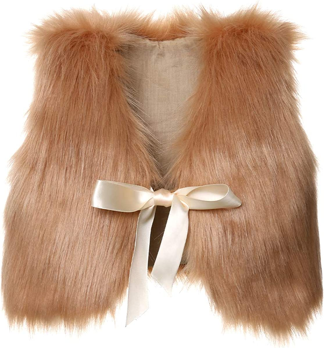 BAOSHI1 Kids Faux Fur Vest for Toddler Girl, Infant Baby Jacket Fall Winter Spring Warm Waistcoat Outerwear