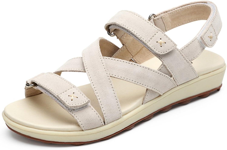 Bao Xing Bei Firm Wild Student Student Student Sandalen Sommer Flache Sandalen weibliche Velcro Leder Schuhe Rom Schuhe Strandschuhe (Größe   40) 68a