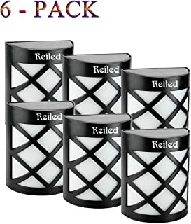 Reiled Solar Fence Lights (6-Pack) 6 LEDs Outdoor Solar Light IP67 Waterproof 180° Wide Angle Super Bright Solar Deck Lights with Automatic Switching Light Sensor for Garden, Driveway, Yard, Fence