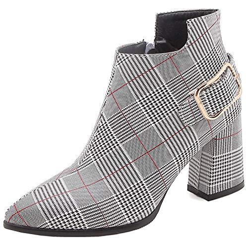 Asupermode Damen Mode Stiefeletten Spitzschuh Blockabsatz Reißverschluss Schnalle Gitter Stiefel