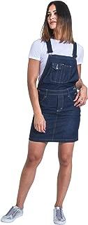 USKEES Short Denim Dungaree Dress - Darkwash Bib Overall Skirt Braces straps