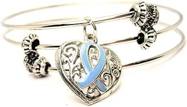 ChubbyChicoCharms Prostate Cancer Awareness Light Blue Lace Heart Triple Wire Bracelet