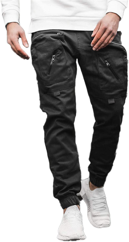 Cicilin Men's Cargo Pants Skinny Jogging Pants Elastic Waist Tracksuit Bottoms