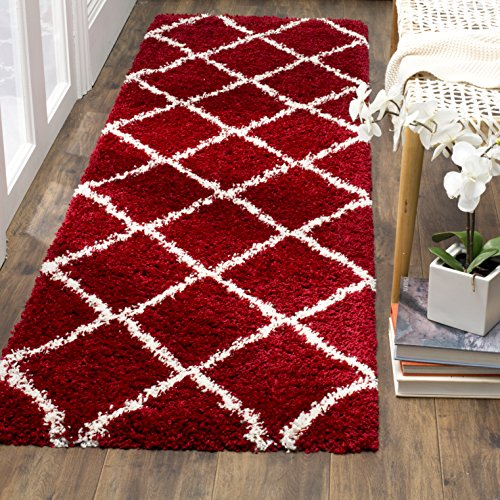 "Safavieh Hudson Shag Collection SGH281R Red and Ivory Moroccan Diamond Trellis Area Rug (2'3"" x 3'9"")"