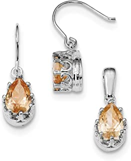 Sterling Silver Polished Shepherd hook Rhodium-plated Champagne Cubic Zirconia Earrings and Pendant Set