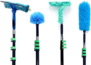 EVERSPROUT 4-Pack Duster Squeegee Kit with Extension Pole (30+ Foot Reach) | Swivel Squeegee, Hand-Packaged Cobweb Duster, Microfiber Feather Duster, Ceiling Fan Duster, 24 Foot Telescopic Pole