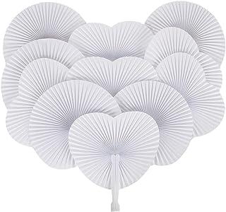 GoMaihe 60Pcs Abanicos PAI PAI para Bodas, Ventilador de Mano Redondo y en Forma de Corazón, Abanicos Boda para Invitados, Wedding Paper Fan Foldable Pocket Fan, Blanco