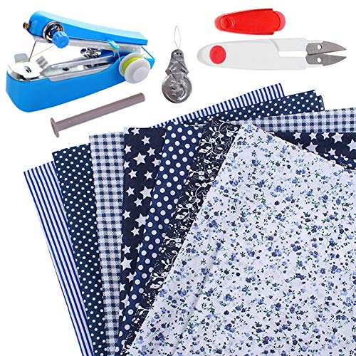 Kit de patchwork de paquete de tela artesanal de algodón 7 piezas 25 * 25 cm Paños de patrones diferentes impreso DIY Artcraft Cuadrados Pañuelo en la cabeza con máquina de coser tijeras (azul marino)