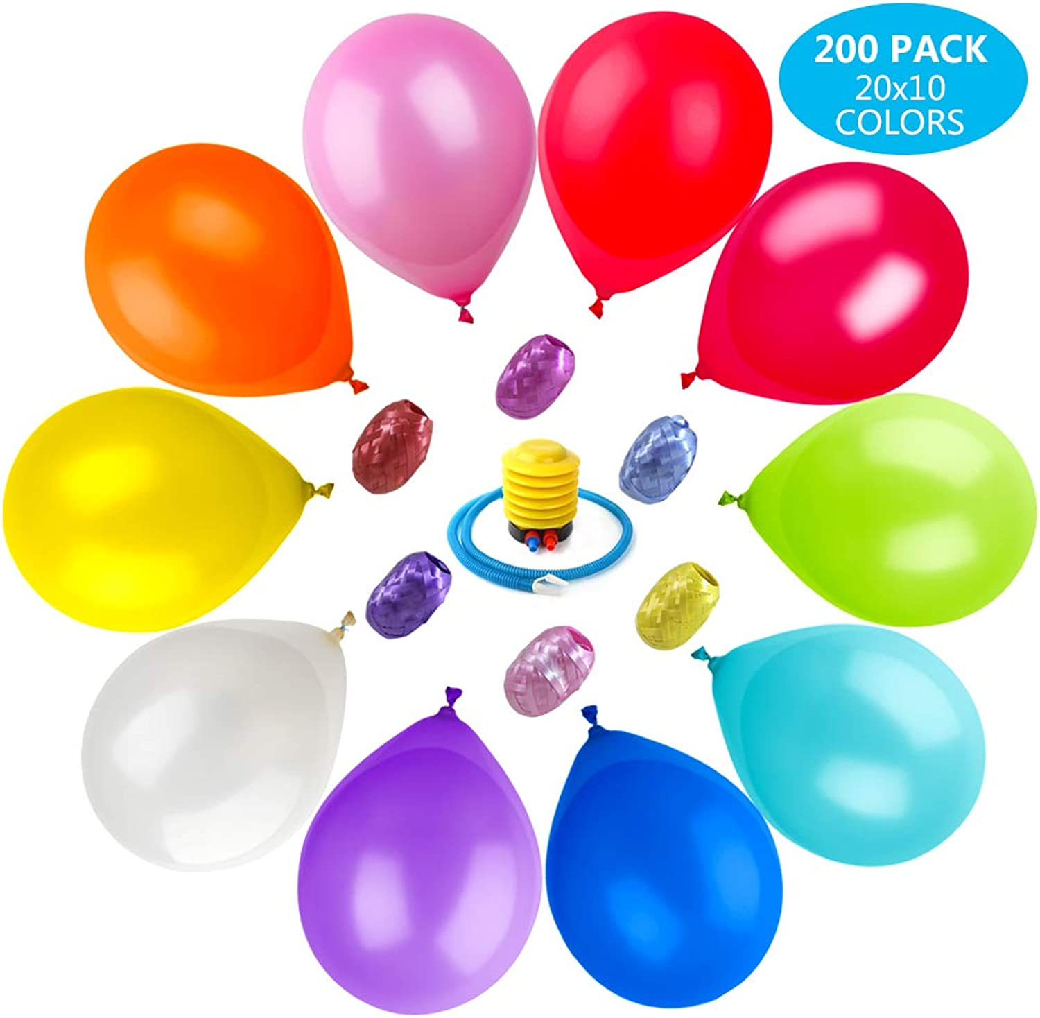 M&M Party Balloons 200 Pcs 12 Inch with Pump, Ribbons Assorted color Set Helium Latex Balloons for Party Birthday Holidays Decoration