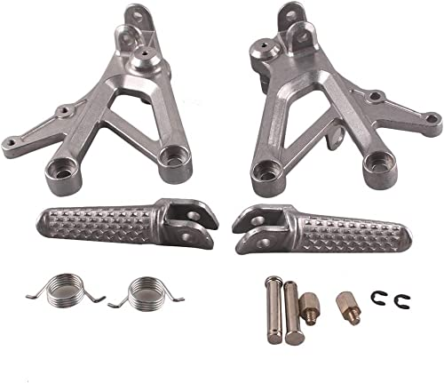 discount Mallofusa Aluminum Motorcycle Front Foot Pegs Pedal Footrests Compatible online sale for Honda CBR600 F4 1999 2000 CBR600 F4i sale 2001 2002 2003 2004 2005 2006 Silver outlet online sale