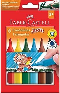 Caneta Hidrografica Jumbo Triangular 6 Cores - Pacote com 06 Faber Castell, Multicor